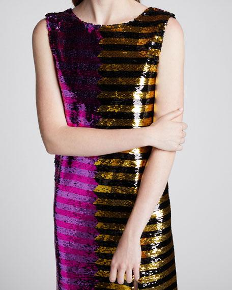 Bicolor Sequin-Striped Dress