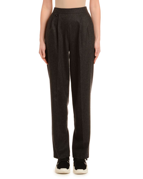 Straight-Leg Wool Cashmere Flannel Pants