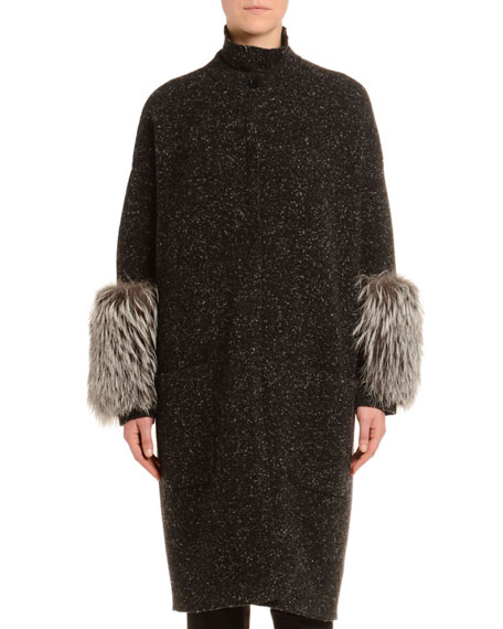Cashmere Melange Tweed Fur-Cuff Coat