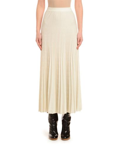 Pleated Wool Skirt, Ivory