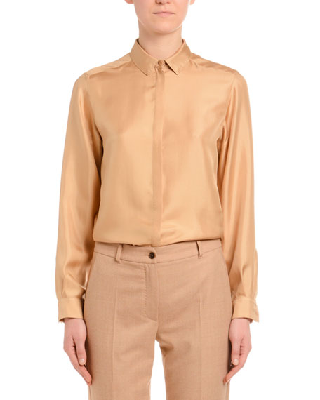 Long-Sleeve Button-Front Silk Twill Blouse, Camel