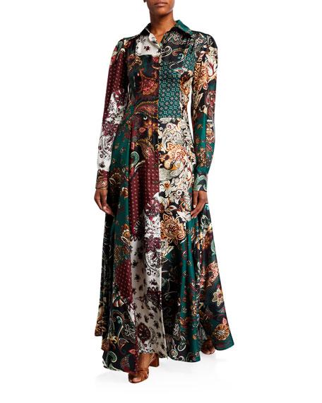 Evanthia Silk Twill Scarf-Print Shirtdress