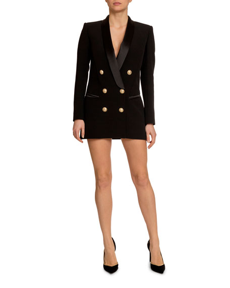 6-Button Long Tuxedo Jacket Dress