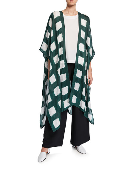 Image 1 of 1: Long Cape-Sleeve Tie-Dye Silk Kimono Jacket