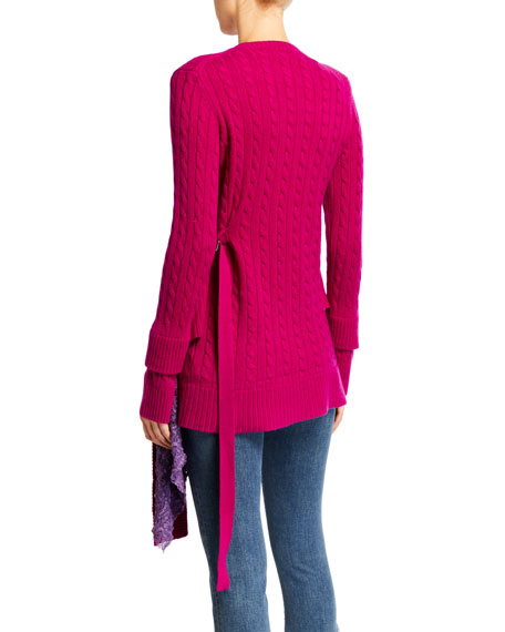 Wool-Cashmere Asymmetric Lace Sweater