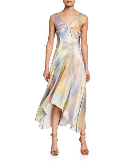 Tie-Dye Satin Asymetric Midi Dress