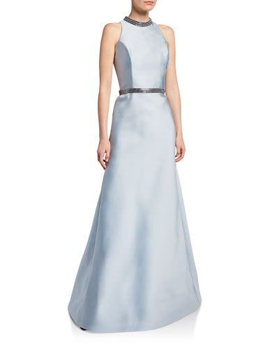 Metallic-Embroidered High-Neck Mikado Gown