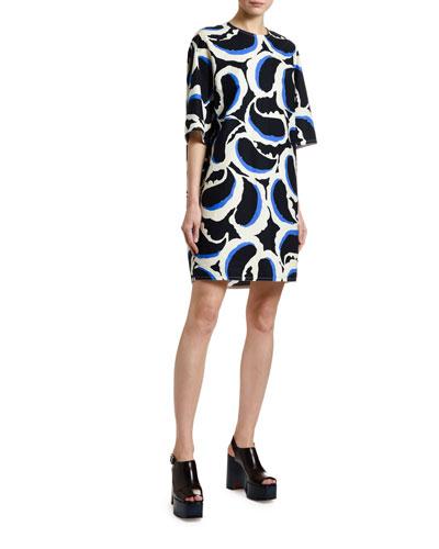 1/2-Sleeve Paisley Poplin Shift Dress