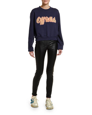 Off-White Shearling-Embroidered Collegiate Sweatshirt