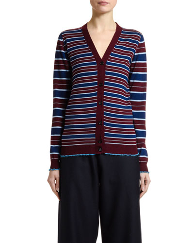 Striped Wool Button-Front Cardigan