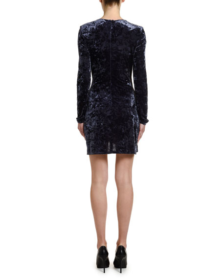 Stretch Velvet Faux-Wrap Mini Dress