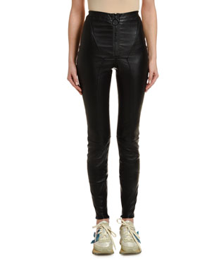Off-White Stretch Leather Zip-Front Leggings