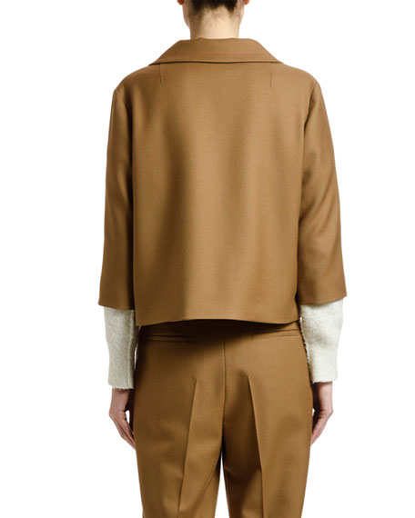 3/4-Sleeve Wool Jacket