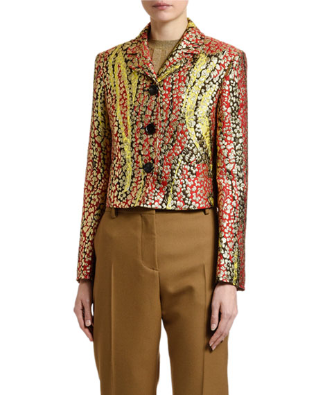 Image 1 of 1: Floral Brocade Button-Front Jacket