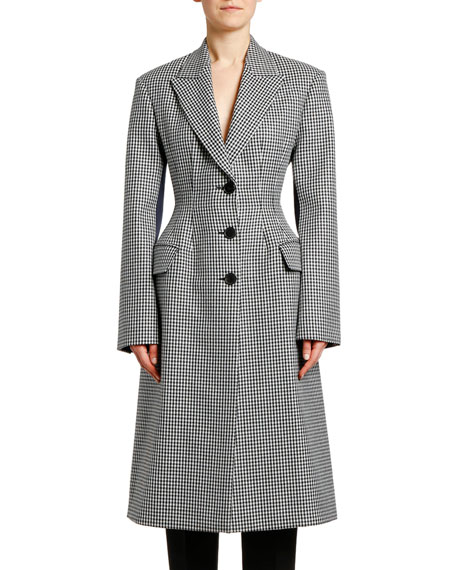 Small Dogtooth Check Wool Coat