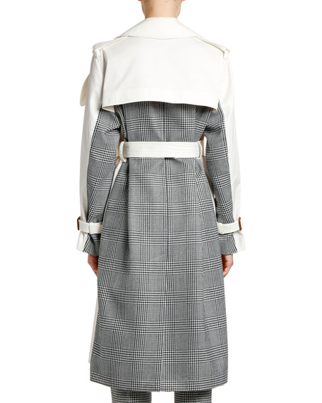 Checked-Back Gabardine Trench Coat