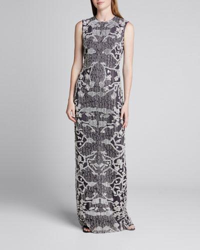 Beaded Silk Column Gown