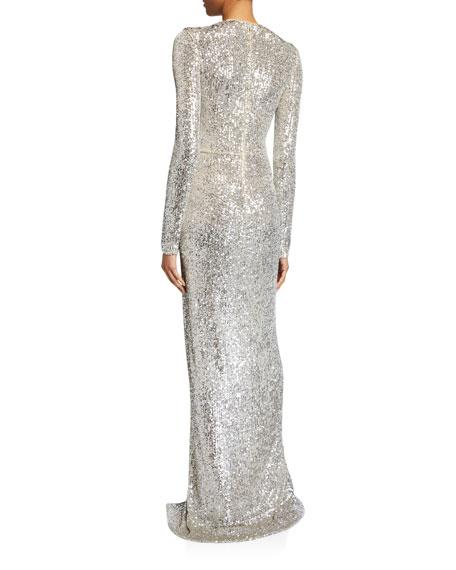 Long-Sleeve V-Neck Sparkle Gown