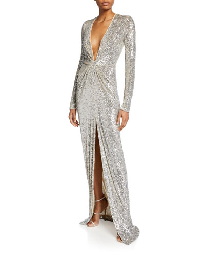Long-Sleeve V-Neck Sparkle Gown