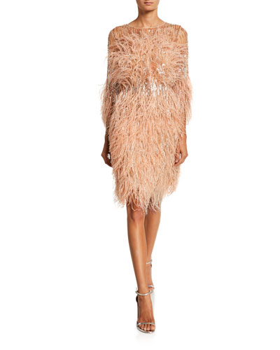 Crystal & Sequined Feather Cocktail Dress