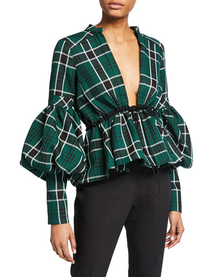 Checked Plunging V-Neck Lantern-Sleeve Top