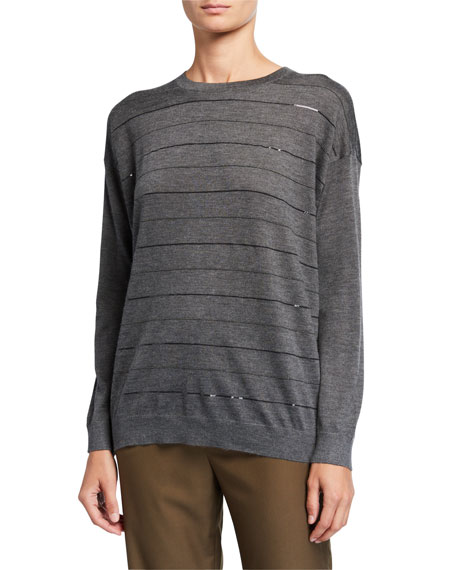 Cashmere-Silk Sequined Crewneck Sweater