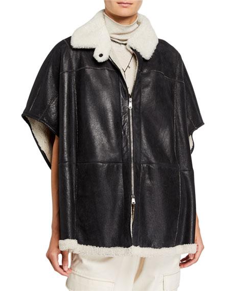 Monili-Beaded Leather & Fur-Trim Zip Front Poncho