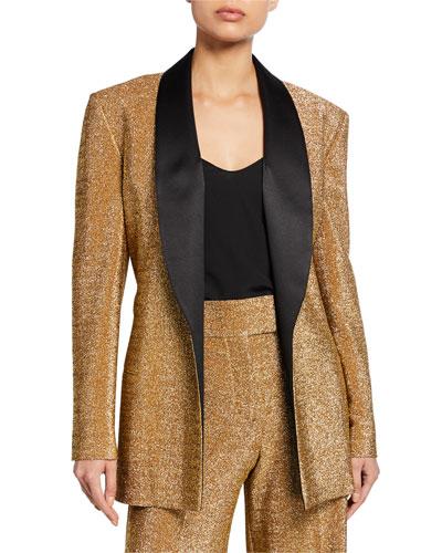 Shimmer Twill Satin-Lapel Tuxedo Jacket