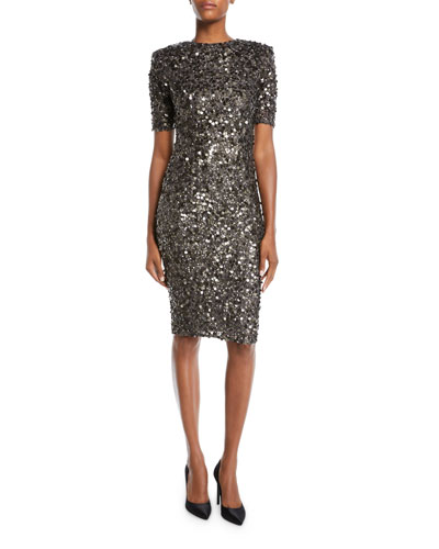 Hand-Embroidered Sequin Short-Sleeve V-Back Bodycon Cocktail Dress
