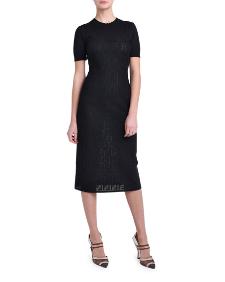 Short-Sleeve Logo Jacquard Sweater Dress