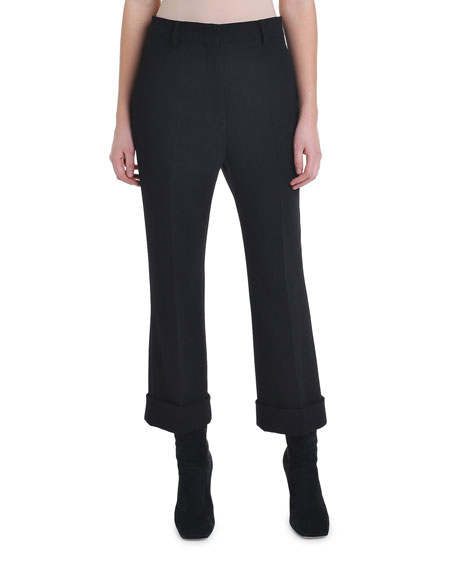 Cropped Wool Crepe Skinny Pants