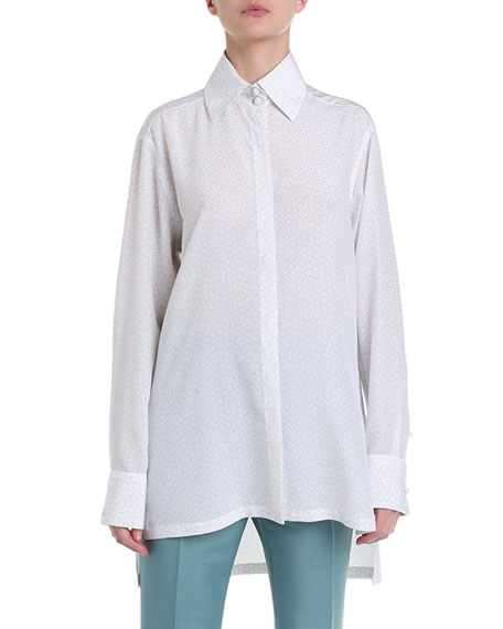 Long-Sleeve Silk Button-Front Blouse