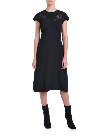 Cap-Sleeve Lace Trim Cocktail Dress