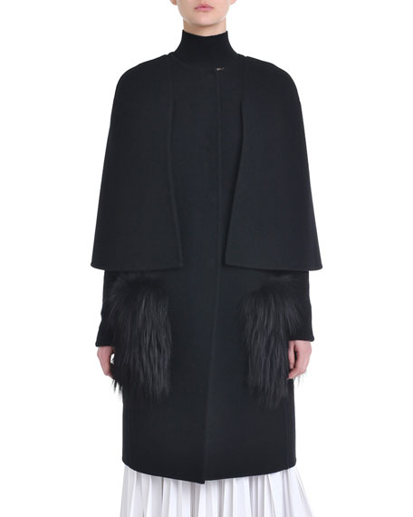 Cape-Sleeve Fur-Front Wool Coat