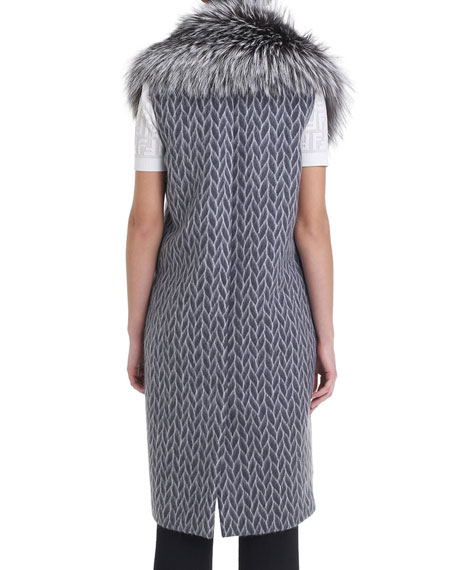 Fur-Collar Printed Wool Vest