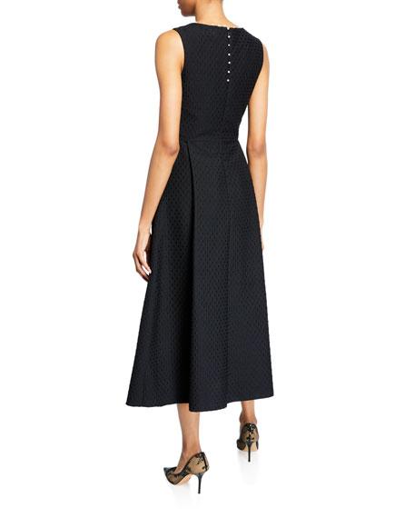 Raised Dot Jacquard Pearly-Detail Dress