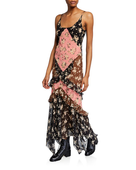 Floral-Patchwork Chiffon Ruffled Maxi Dress