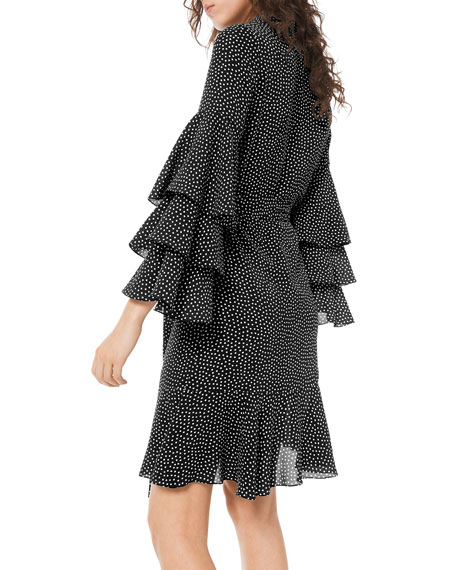 Polka-Dot Tiered Bell-Sleeve Shirtdress