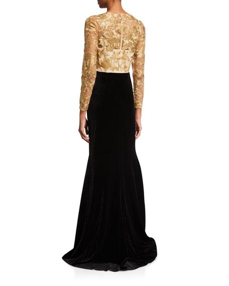 Lace Bodice Velvet Skirt Gown