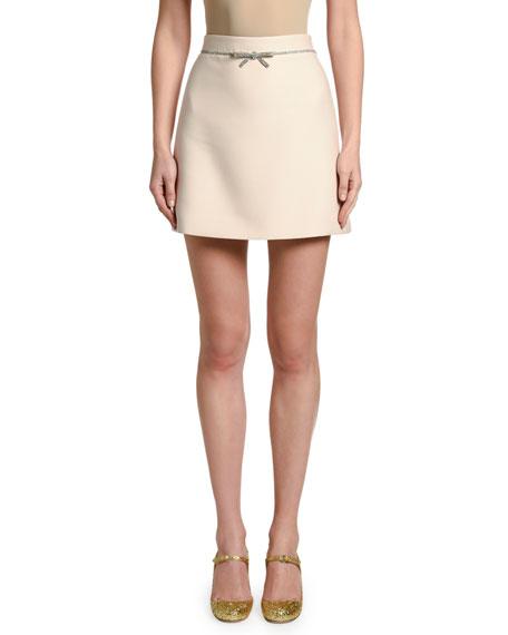 Cady Mini Skirt w/ Crystal Bow