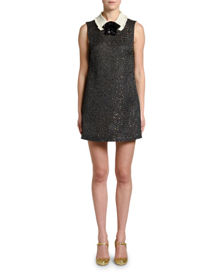 Image 1 of 1: Sequined Boucle Collar-Neck Dress