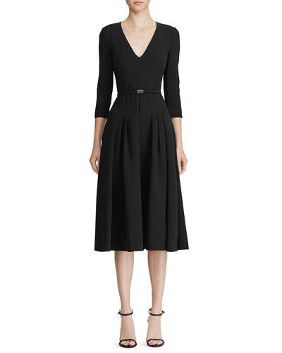 Raeana 3/4-Sleeve Belted Crepe Dress