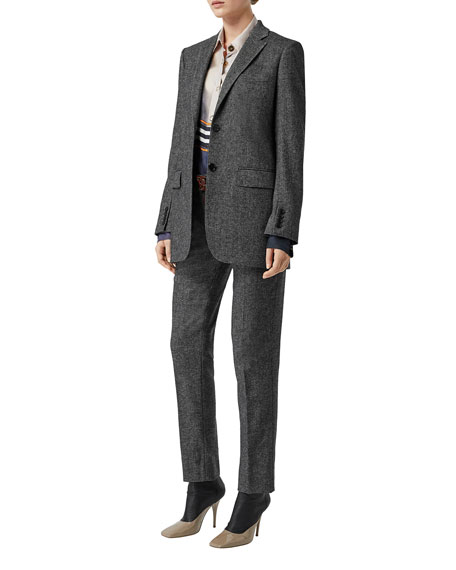Marled Wool-Cashmere Boxy Tailored Blazer Jacket