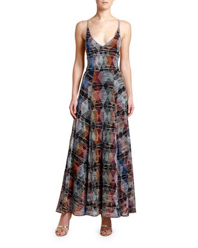 Sleeveless Argyle Metallic Maxi Dress