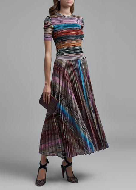 Striped Crewneck Short-Sleeve Top