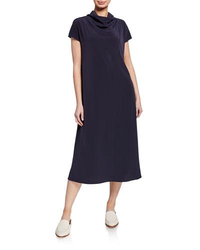 Mock-Neck A-line Dress