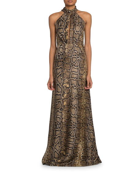 Python-Print Halter-Neck Gown