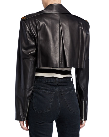 Eduarda Cropped Leather Moto Jacket