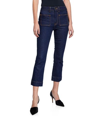 Raquel Patch-Pocket Crop Flare Jeans  Blue