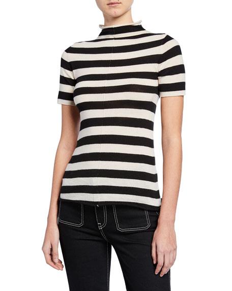 Nidia Striped Mock-Neck Short-Sleeve Sweater